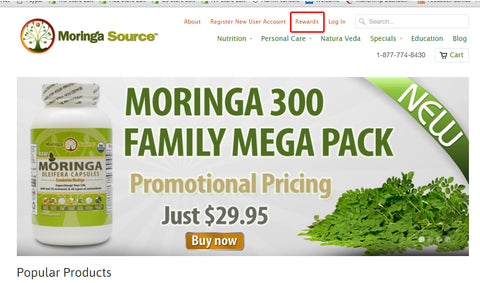 Moringa Source Rewards menu location