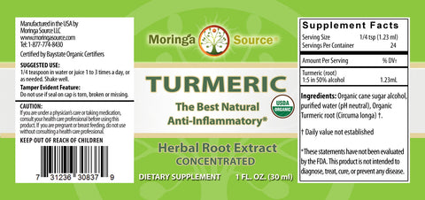 Turmeric Extract label by Moringa Source