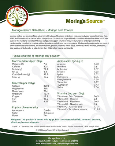 moringa data sheet front