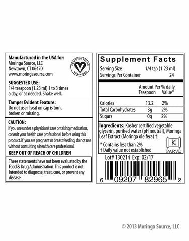 Moringa Extract Label and Nutrition Facts