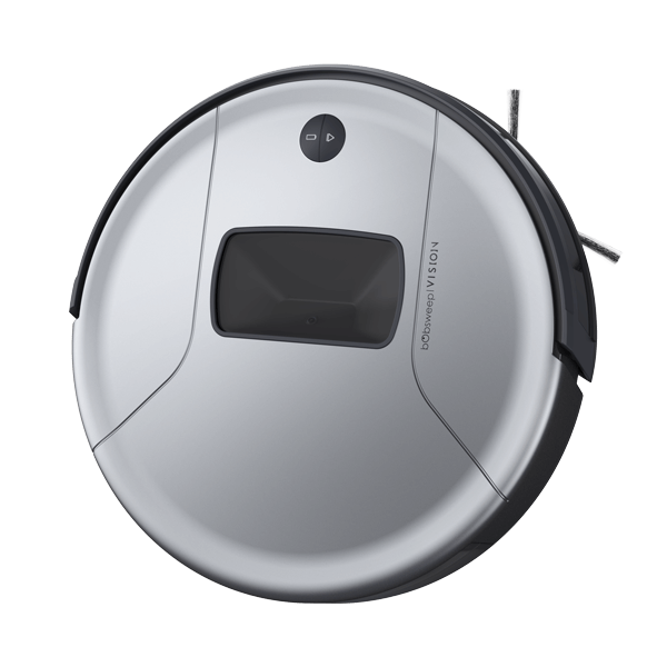 Bob PetHair Vision Robotic Vacuum Cleaner in steel angled