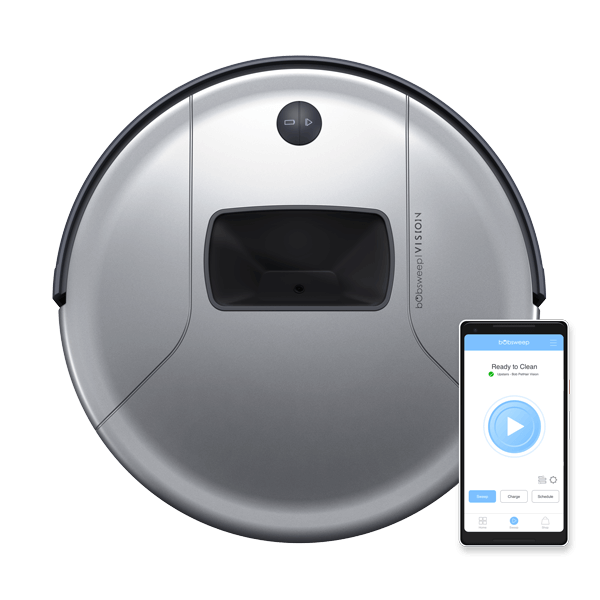 Bob PetHair Vision Robotic Vacuum Cleaner in steel with mobile app