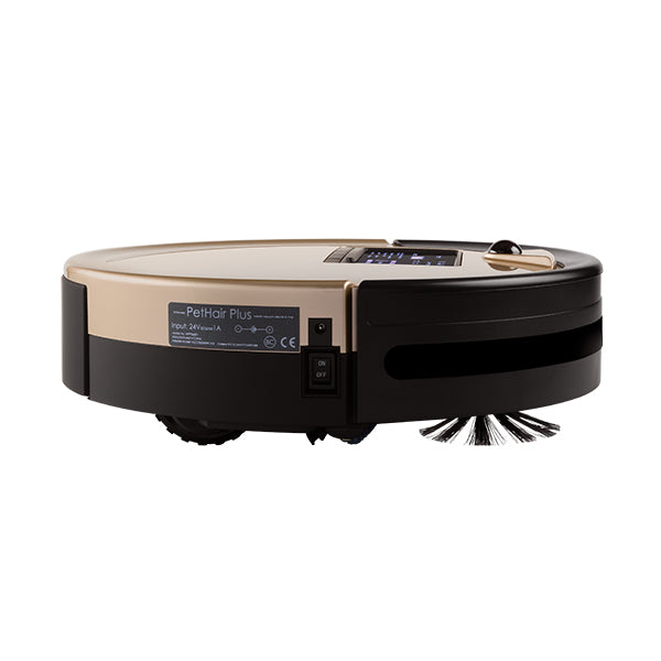 Bob PetHair Plus Robotic Vacuum Cleaner and Mop side view in champagne