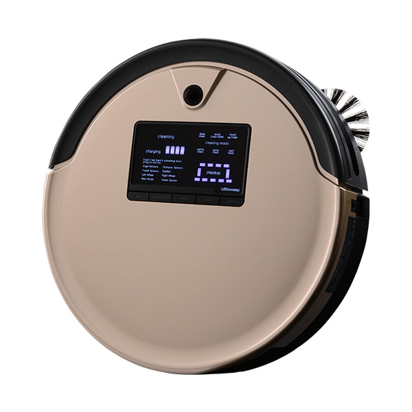 Bob PetHair Plus Robotic Vacuum Cleaner and Mop angled in champagne