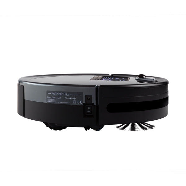 Bob PetHair Plus Robotic Vacuum Cleaner and Mop side view in charcoal