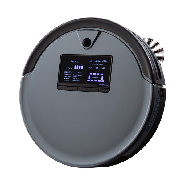 Bob PetHair Plus Robotic Vacuum Cleaner and Mop angled in charcoal