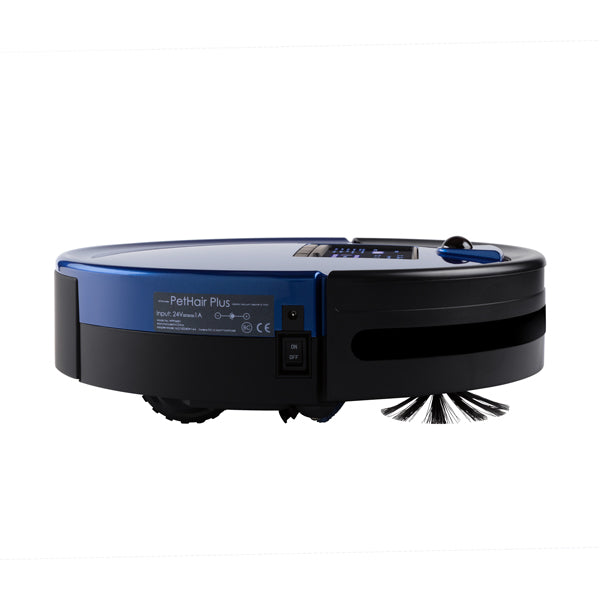 Bob PetHair Plus Robotic Vacuum Cleaner and Mop side view in cobalt