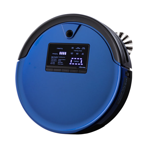 Bob PetHair Plus Robotic Vacuum Cleaner and Mop angled in cobalt