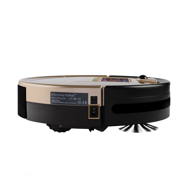 bObsweep PetHair Robotic Vacuum Cleaner and Mop side view in champagne