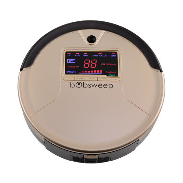 bObsweep PetHair Robotic Vacuum Cleaner and Mop top view in champagne