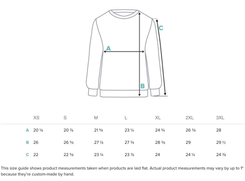 Size guide for Sweatshirts