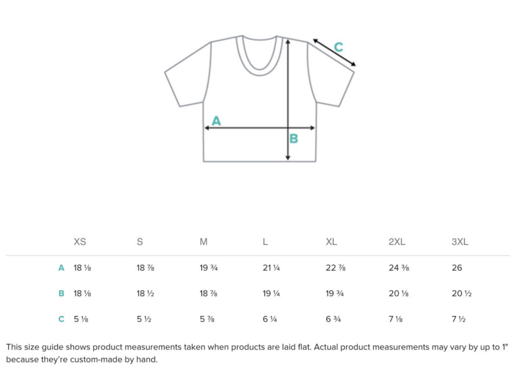 Size guide for Crop Tops