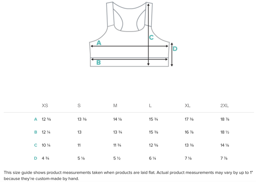 Size guide for Sports Bra Top