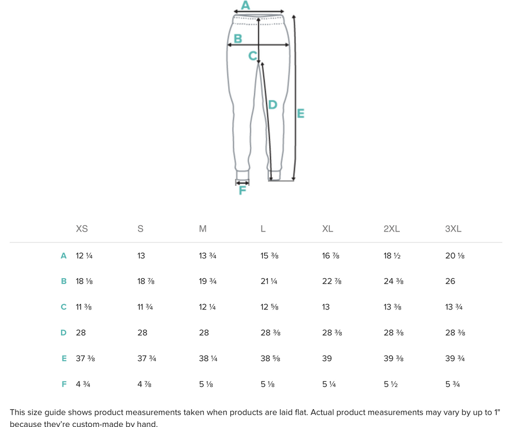 Size guide for Joggers