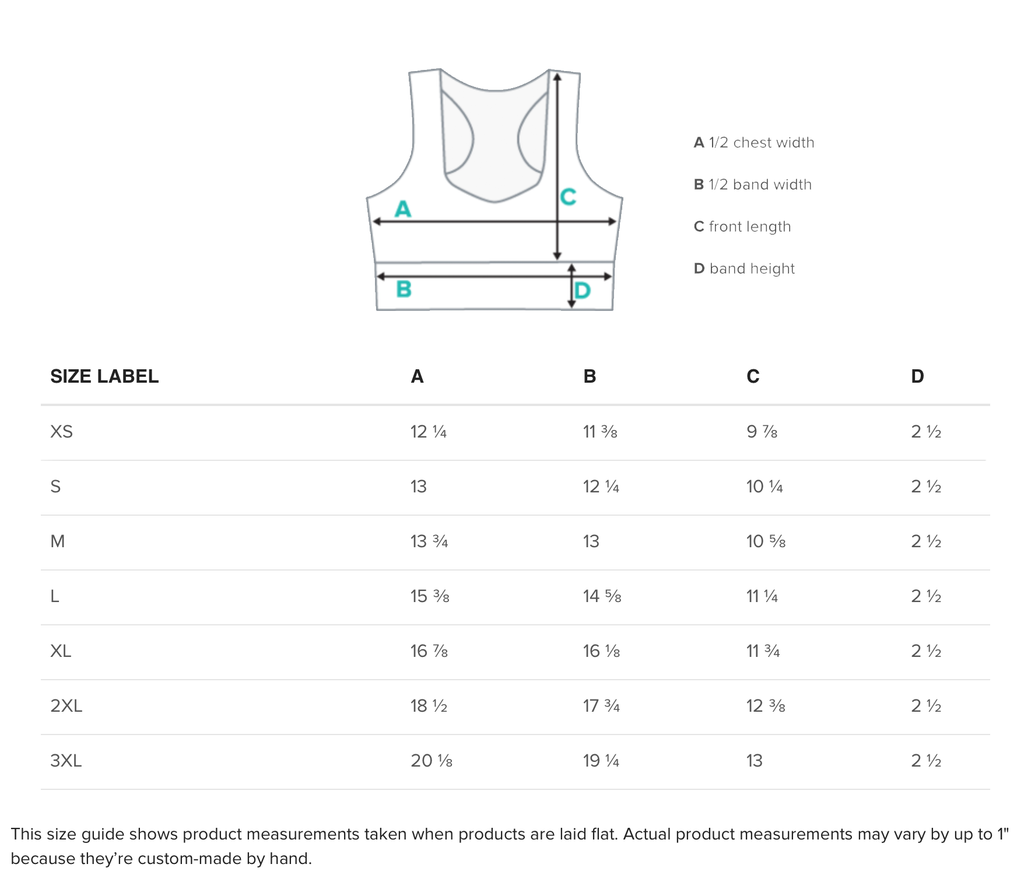 Yoga top size guide