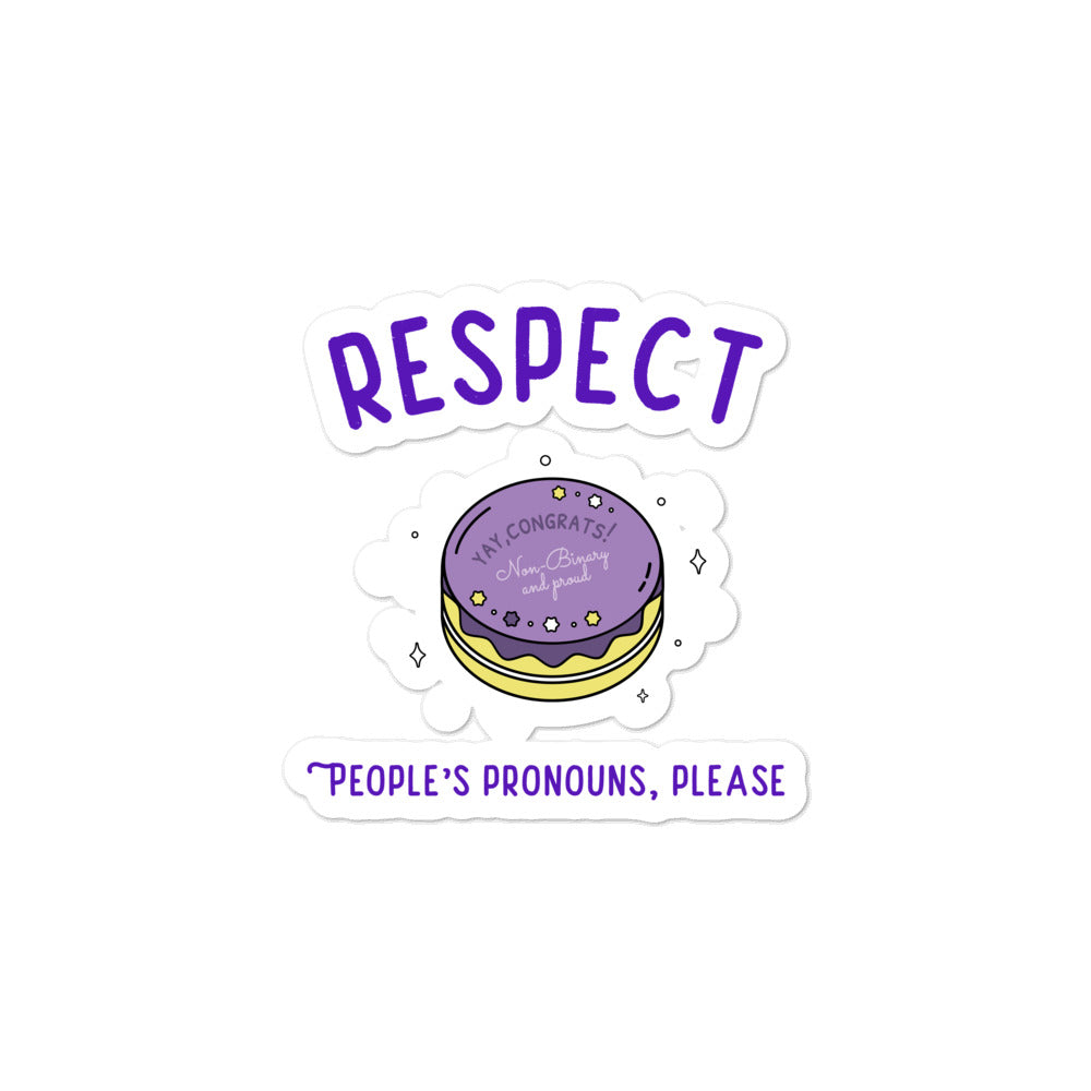 Respect People's Pronouns Please Bubble-Free Stickers