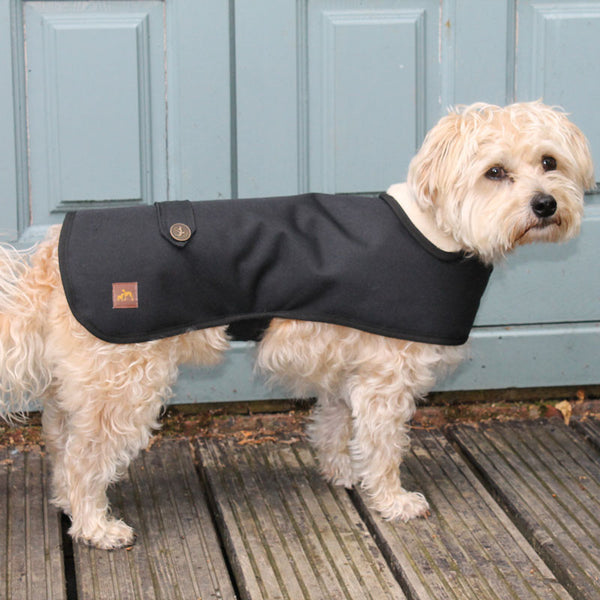 Country & Twee Black Waterproof And Sherpa Fleece Dog Coat