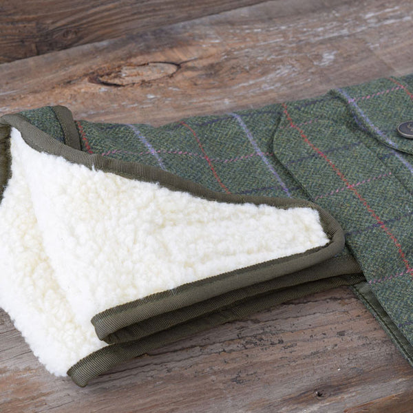 Country & Twee Olive Wool Tweed and Sherpa Fleece Dog Coat