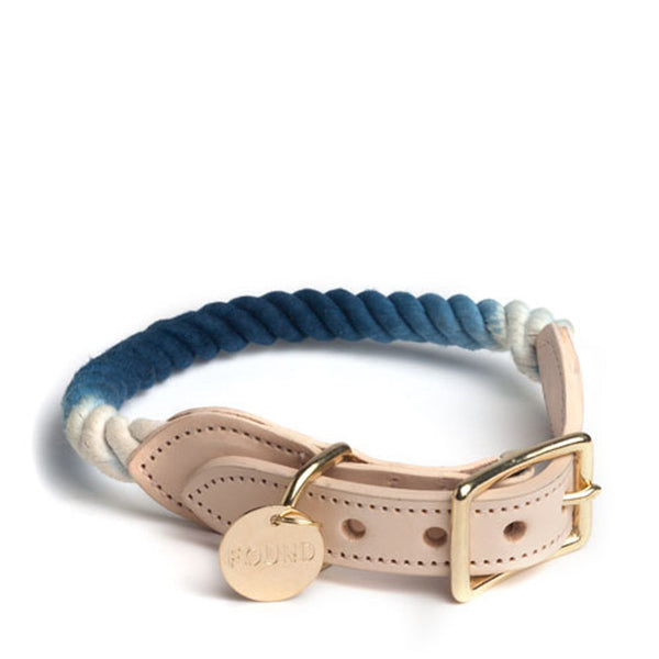 Indigo Ombre Rope and Leather Collar