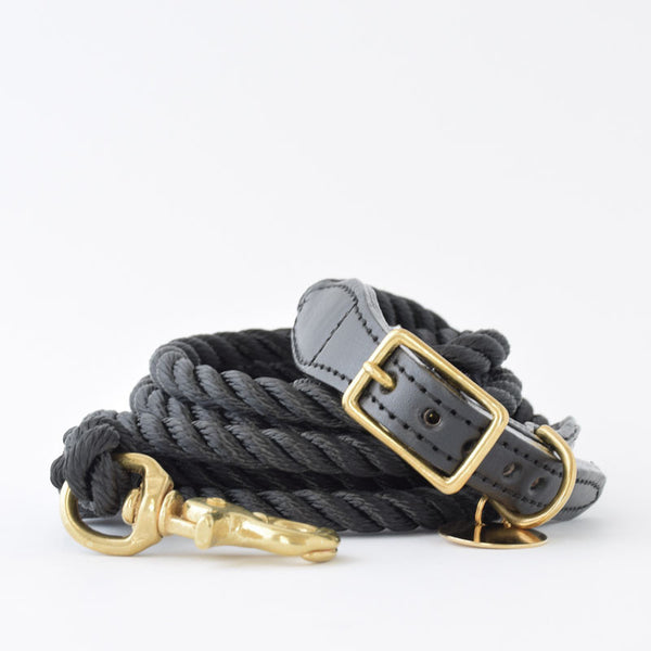 Found My Animal Black Rope Dog Collar and Leash