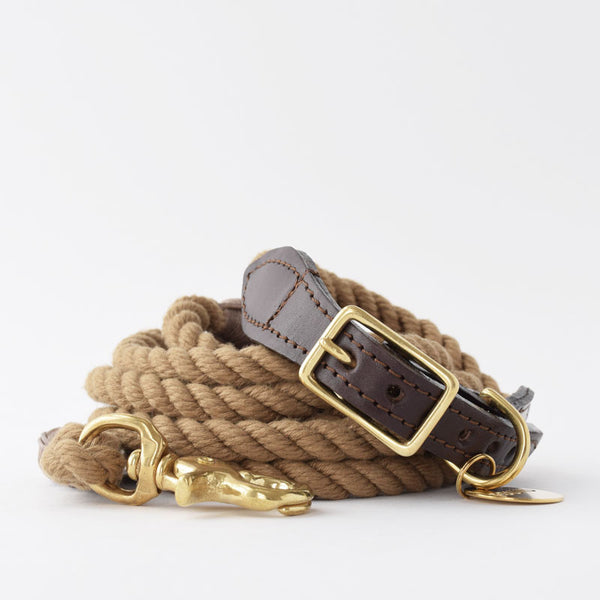 Found My Animal Natural Rope and Leather Dog Collar and Leash