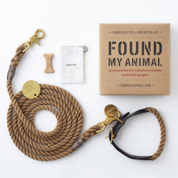 Natural Rope and Leather Collar