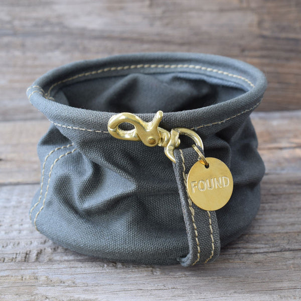 Found My Animal Olive Canvas Travel Dog Water Bowl