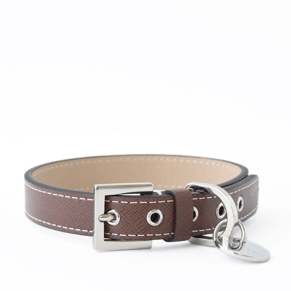 Chocolate Saffiano Leather Collar