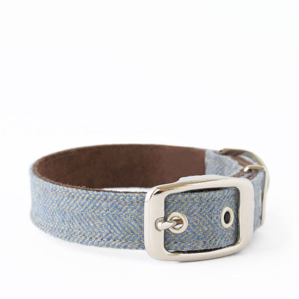 Rivington Herringbone Tweed and Suede Collar