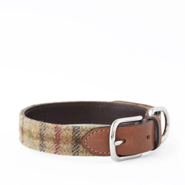 Mutts & Hounds Balmoral Check Tweed and Leather Collar