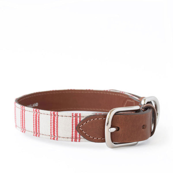Cranberry Organic Ticking and Leather Collar