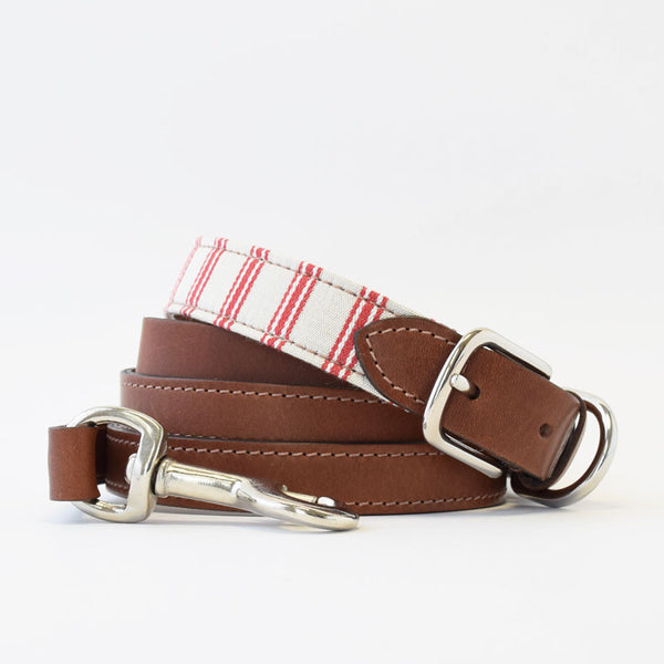Mutts & Hounds Cranberry Organic Ticking and Leather Dog Collar and Leash