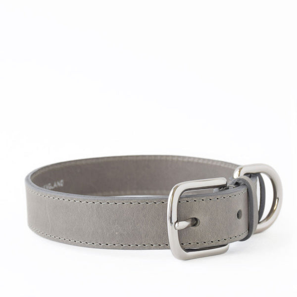 Grey Italian Leather Collar