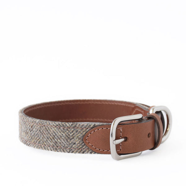 Herringbone Tweed and Leather Collar
