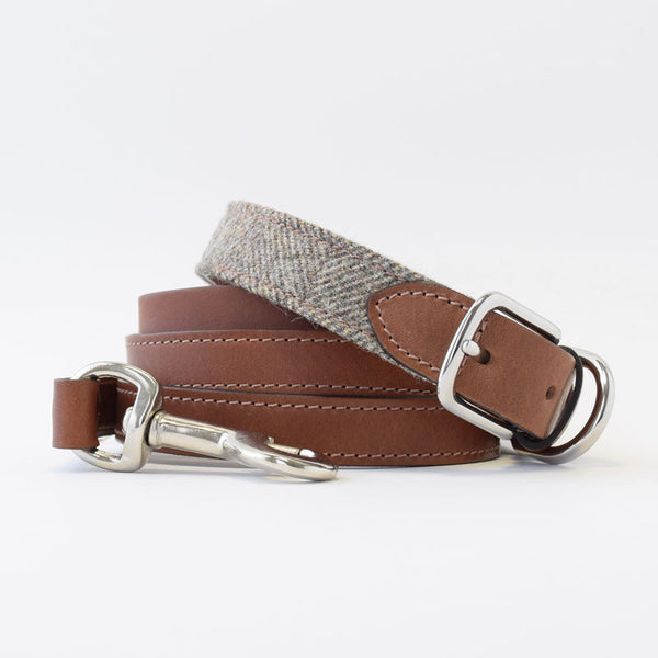 Mutts & Hounds Herringbone Tweed and Leather Dog Collar