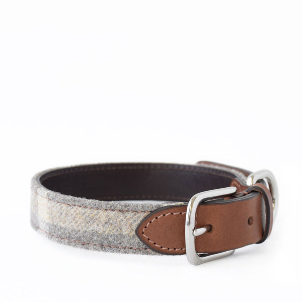 Slate Tweed and Leather Collar