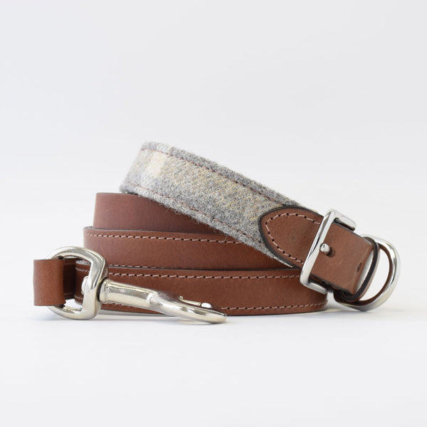 Mutts & Hounds Slate Tweed and Leather Dog Collar and Leash