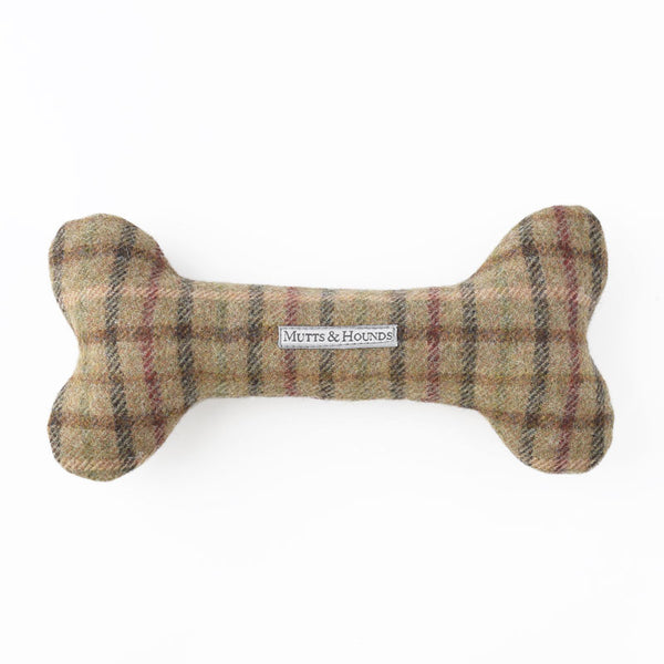 Balmoral Check Tweed Squeaky Bone Toy