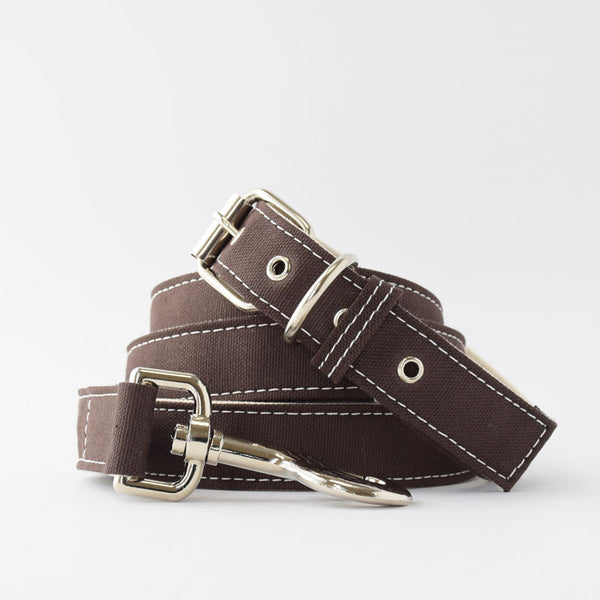 Wagwear Brown Boat Canvas Dog Collar and Leash
