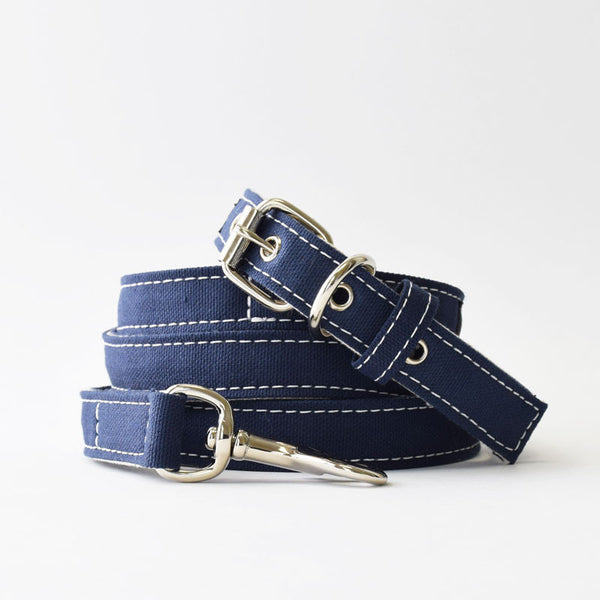 Wagwear Navy Boat Canvas Dog Collar and Leash