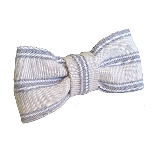 Mist Organic Ticking Bow Tie