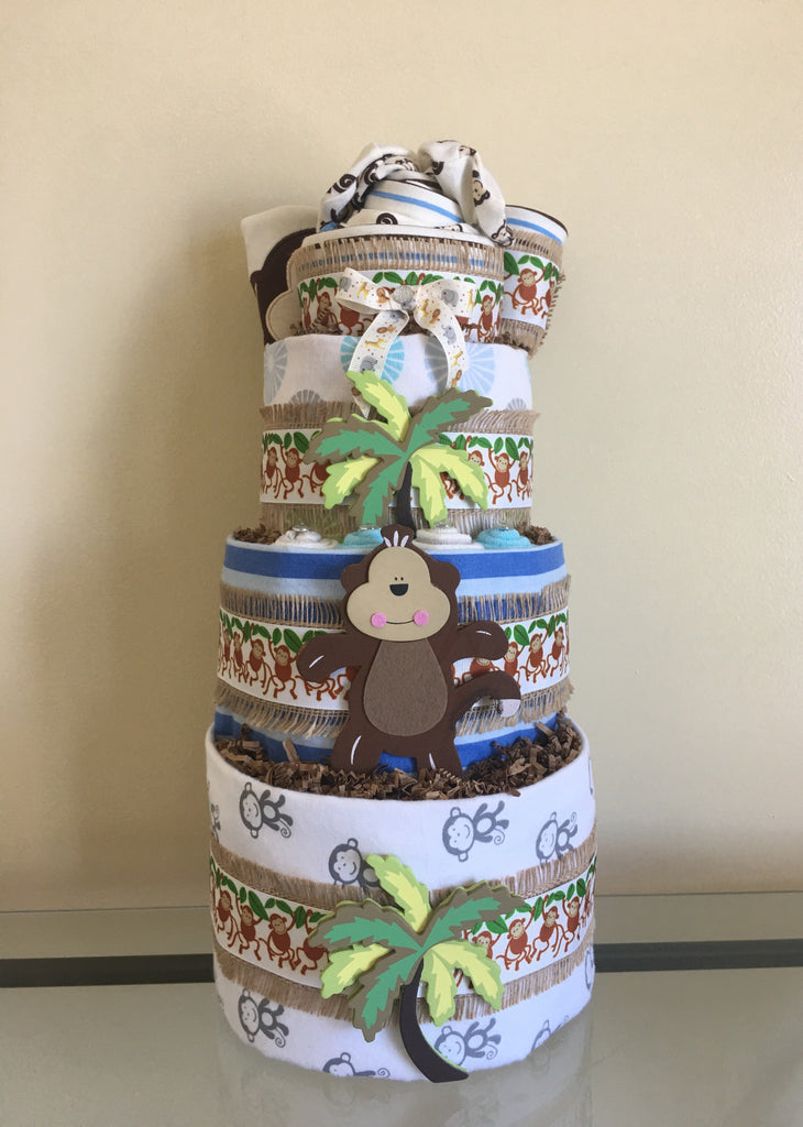 Monkey Around Baby Boy Jungle Diaper Cake
