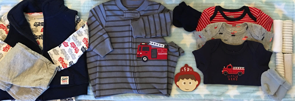 Mighty Fire Trucks and Machines Baby Boy Gift Basket