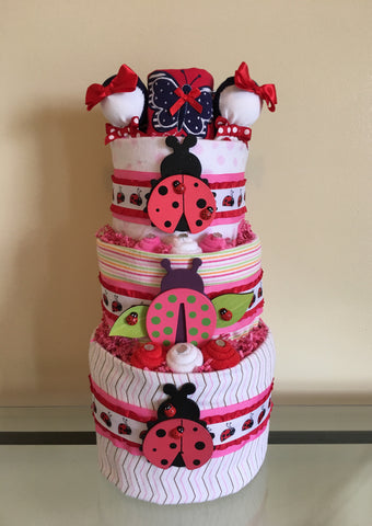 Little Miss Ladybug Baby Girl Diaper Cake