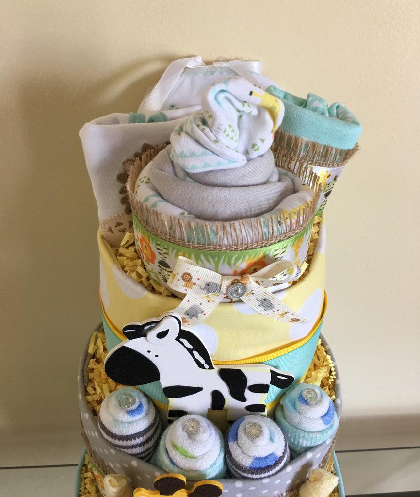 Monkey and Jungle Friends Baby Boy Diaper Cake