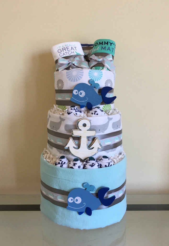 Whales of Fun Baby Boy Diaper Cake