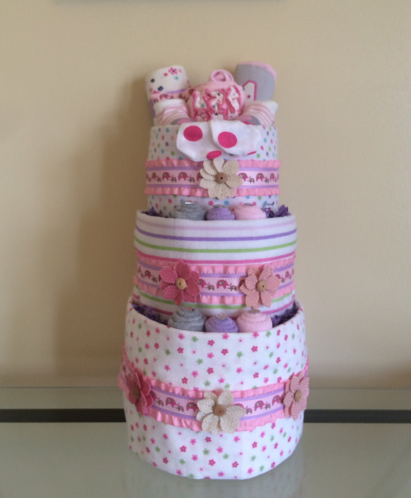 Pink Elephants Of Fun Baby Girl Diaper Cake
