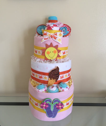 Fun in the Sun Beach Baby Girl Diaper Cake