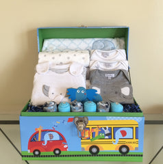 Jungle Elephant Baby Boy Gift Basket
