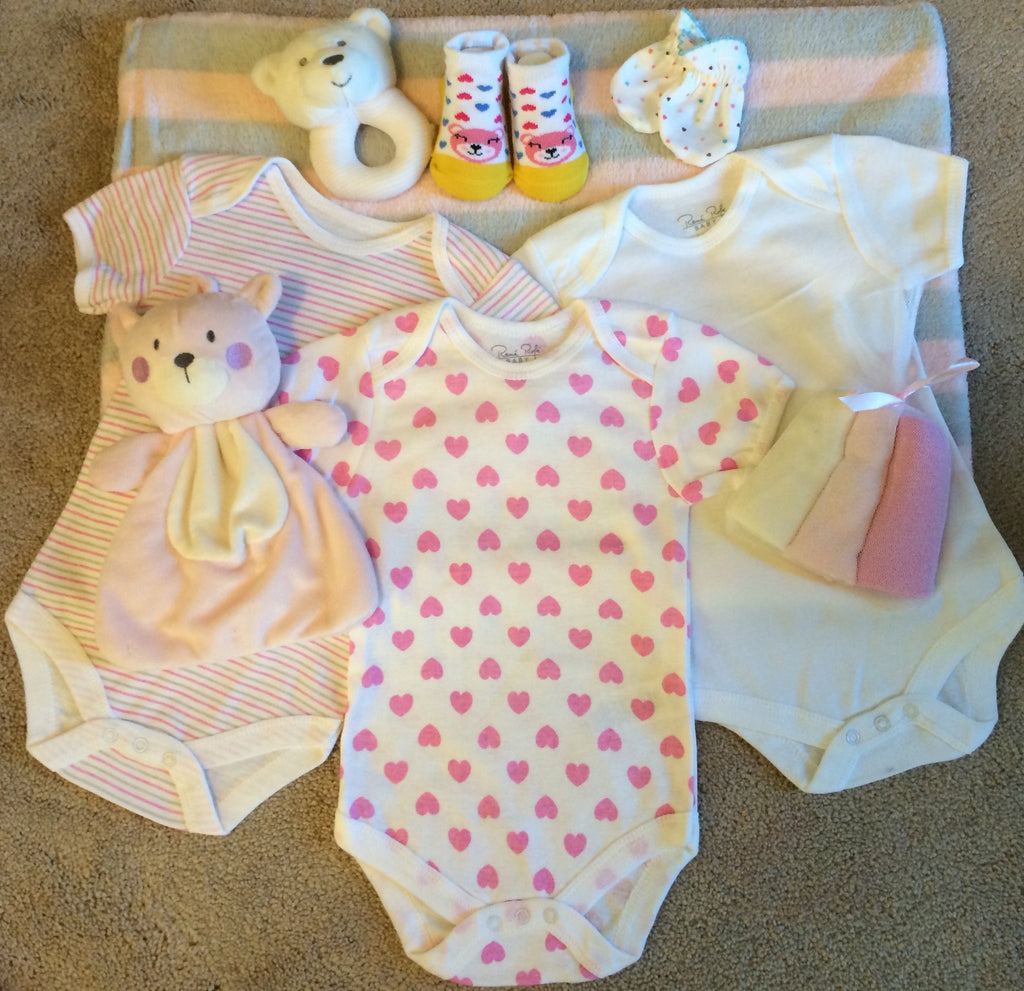 Pink/White Baby Girl Teddy Bear Gift Basket